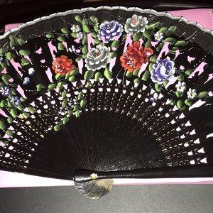 Black Hand Painted Wooden Fan—FINAL MARKDOWN